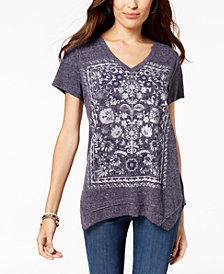 Style & Co Petite Graphic Handkerchief-Hem Top, Created for Macy's