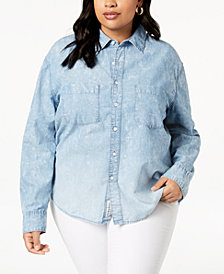 Lucky Brand Trendy Plus Size Cotton Boyfriend Shirt