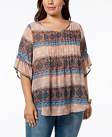 Style &  Co Plus Size Medallion-Print Pintucked Top, Created for Macy's