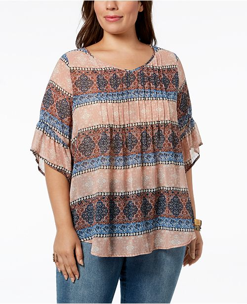 8c66b7bd4e3 Style   Co Style   Co Plus Size Medallion-Print Pintucked Top ...