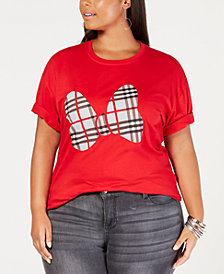 Disney Plus Size Cotton Minnie Mouse Plaid-Bow T-Shirt