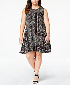 Style & Co Plus Size Mixed-Print Swing Dress, Created for Macy's