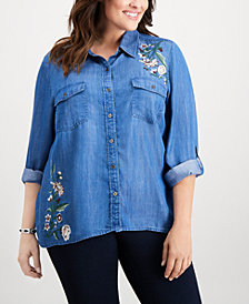 Style & Co Plus Size Embroidered Denim Shirt, Created for Macy's
