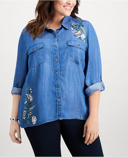d2c0e477032 ... Style   Co Plus Size Embroidered Denim Shirt