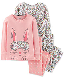 Carter's Baby Girls 4-Pc. Bunny & Floral-Print Cotton Pajamas