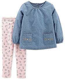 Carter's Baby Girls 2-Pc. Chambray Kitty Outfit Set