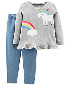 Carter's Toddler Girls 2-Pc. Unicorn Top & Chambray Pant Set
