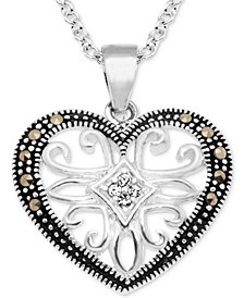 "Marcasite & Crystal Openwork Heart 18"" Pendant Necklace in Fine Silver-Plate"