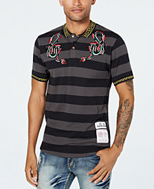 Reason Men's Serpent Embroidered Stripe Polo