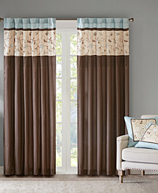 "Madison Park Serene 50"" x 84"" Colorblocked Embroidered Rod Pocket/Back Tab Curtain Panel"