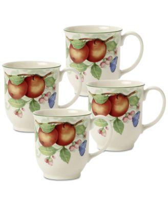 French Garden Beaulieu Porcelain 4-Pc. Mug Set