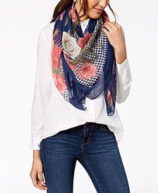 I.N.C. Houndstooth Floral Square Scarf, Created for Macy's