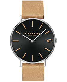 COACH Men's Charles Created for May's Camel Leather Strap Watch 41mm