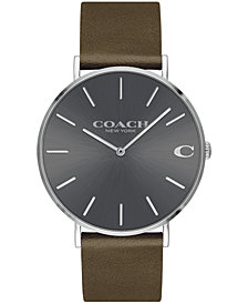 COACH Men's Charles Created for Macy's  Fatigue Leather Strap Watch 41mm