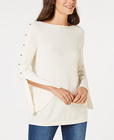 MICHAEL Michael Kors Button-Trim Split-Sleeve Sweater, in Regular and Petite Sizes