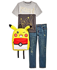 Pokémon Big Boys Pikachu T-Shirt, Jeans & Backpack Separates