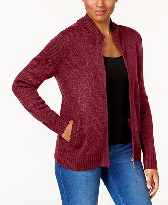 Karen Scott Long Sleeve Zip Cardigan Created For Macys Sweaters