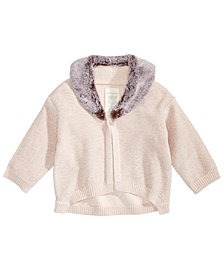 First Impressions Baby Girls Faux-Fur-Trimmed Cardigan, Created for Macy's