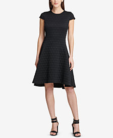 DKNY Textured Fit & Flare Dress, Created for Macy's