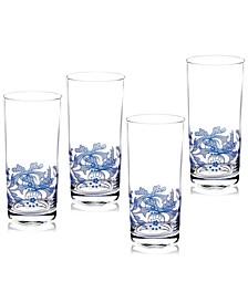 Blue Italian Highball Glasses, Set of 4