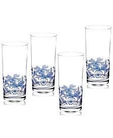 Spode Blue Italian Highball Glasses, Set of 4