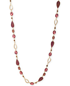 "Anne Klein Gold-Tone Stone 42"" Strand Necklace"