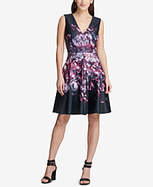 DKNY Placed Floral Scuba Fit & Flare Dress, Created for Macy's