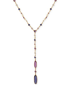"Anne Klein Gold-Tone Stone Lariat Necklace, 28"" + 3"" extender"