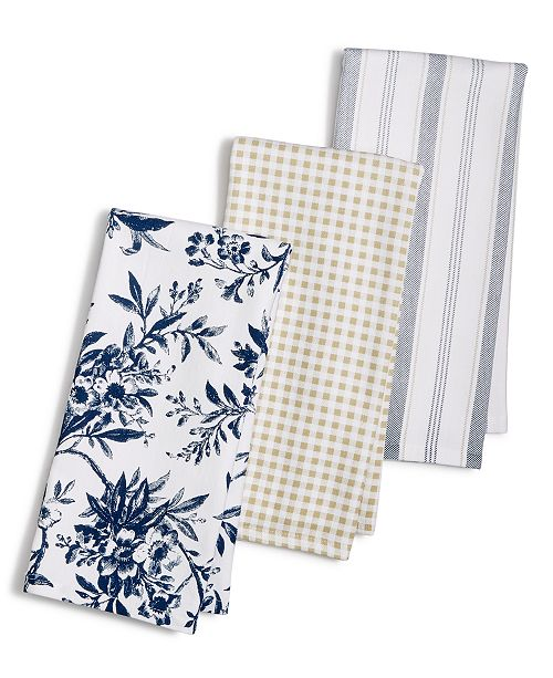 Martha Stewart Collection 3-Pc. Floral Kitchen Towel Set, Created for Macy's