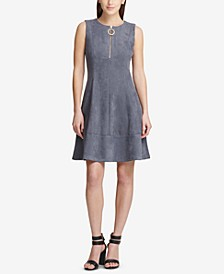 Faux-Suede Fit & Flare Dress, Created for Macy's