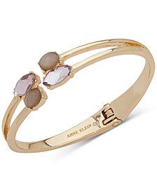 Anne Klein Gold-Tone Stone Double-Row Cuff Bracelet