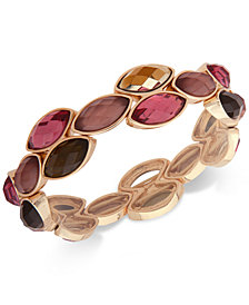 Anne Klein Gold-Tone Stone Stretch Bracelet