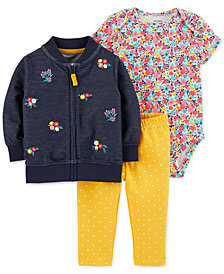 Carter's Baby Girls 3-Pc. Floral Bomber Jacket, Printed Bodysuit & Pants Set