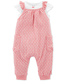 Carter's Baby Girls 2-Pc. Pink Hearts Overalls Set