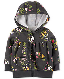 Carter's Baby Girls Floral Full-Zip Hooded Sweatshirt