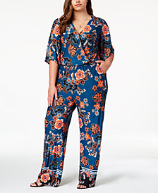 NY Collection Plus Size Printed Kimono-Sleeve Jumpsuit