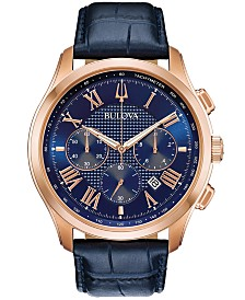 Bulova Men's Chronograph Wilton Blue Leather Strap Watch 46.5mm