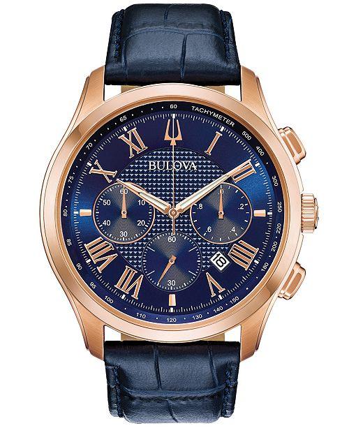 224d26e8b57 ... Bulova Men s Chronograph Wilton Blue Leather Strap Watch 46.5 ...
