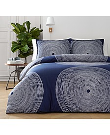 Fokus Navy Cotton 3-Pc. Full/Queen Duvet Cover Set