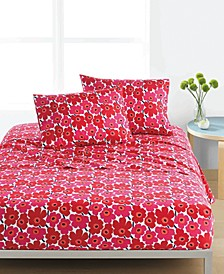 Mini Unikko Cotton 200-Thread Count 4-Pc. Red Floral Queen Sheet Set