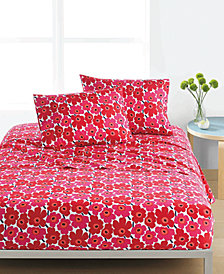 Marimekko Mini Unikko Cotton 200-Thread Count 4-Pc. Red Floral Queen Sheet Set