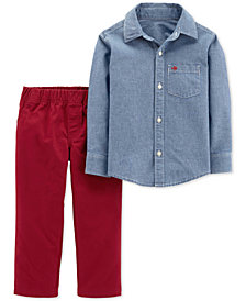 Carter's Toddler Boys 2-Pc. Cotton Chambray Button-Front Shirt & Canvas Pants Set