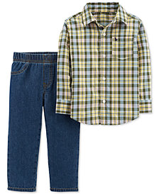 Carter's Toddler Boys 2-Pc. Button-Front Shirt & Denim Pant Set