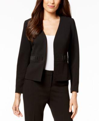 Embellished-Waist Flyaway Jacket, Regular & Petite Sizes