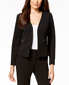 Kasper Embellished-Waist Flyaway Jacket, Regular & Petite Sizes
