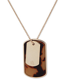 "Lauren Ralph Lauren Gold-Tone Tortoise-Look Dog Tag 36"" Pendant Necklace"