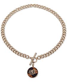 """Lauren Ralph Lauren Gold-Tone Tortoise-Look Logo 18"""" Pendant Necklace"""