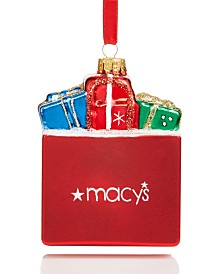 Holiday Lane Macy's Shopping Bag with Gifts Ornament Created For Macy's