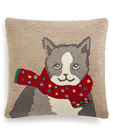 "Martha Stewart Collection Warm Kitten 18"" Square Decorative Pillow, Created for Macy's"