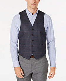 Lauren Ralph Lauren Men's Classic/Regular Fit Stretch Blue/Brown Plaid Wool Vest